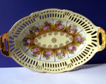 Love Story Dish Handpainted made in Western Germany Serving Dish Reticulated Edge, Oblong porcelain German Courting Couple in Pink Clothes