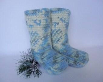 Crochet Booties, Booties, Bed Socks, Sky Blue Night Owl Sleeping Booties, Felted Wool, Grandpa Gift, Women's 10 1/2 - 11, Men's 9 1/2 - 10