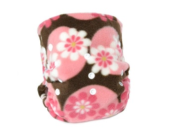 Cloth Diaper Cover OS, Fleece - Flowers, pink dots, brown
