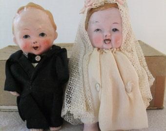 Vintage Kewpie Doll Wedding Cake Topper 1920s Bride and Groom Set Porcelain Antique