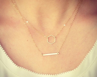 Wholesale - Two Necklaces Duo - Tiny Hexagon Necklace and Dainty Gold Bar Necklace Minimalist - Wedding Gift - Bridal thelovelyraindrop