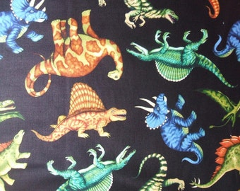 Jurassic Jungle Black Dinosaur Brontosaurus TRex Quilting Treasures Fabric Yard