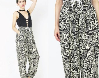 25% off SALE Vintage Tribal Print Pants Comfy Slouchy Pants Drawstring Elastic Waist Pants Comfy Yoga Pants Boho Rayon Ethnic Boho Harem Pan