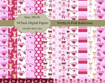 Instant Download - Pink Ballerina Dance Dancing Digital Paper pack Scrapbooking Card Making Paper Goods Backgrounds DS146