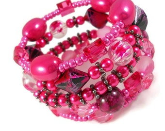 Hot Pink Bracelet Stack Tween Gift Idea Teen Jewelry Layered Stacked Bracelet Trendy Jewelry for Teens Beaded Bracelet by Forever Andrea