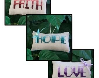 Faith-Hope-Love Ornament Trio Cross Stitch Pattern