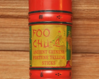 Vintage 1960s Chinese Fortune Telling Sticks Foo Chu in original  old red and green tube