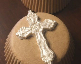 Edible Cross Cupcake Toppers, fondant cupcake topper, cupcake decoration, cake decoration, baptism cupcake decoration