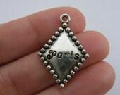 4 Paris charms antique silver tone BOX12