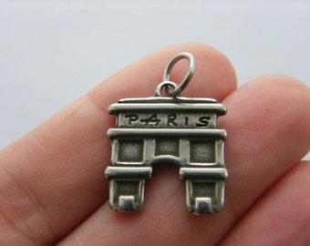 1 Paris Arc de Triomphe charm dark silver tone WT201