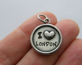 1 I love London charm dark silver tone stainless steel WT205