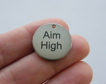 1 Aim High tag charm 20mm stainless steel TAG9-3