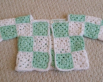 Granny Square Baby Sweater Jacket Hand Crocheted, Size 3 to 18 months