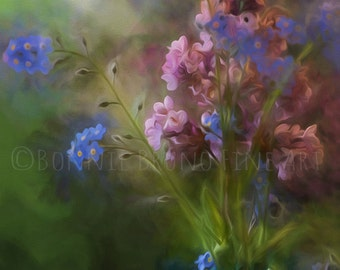 DREAMY BOUQUET fine art  print, spring blossoms, lilac blooms, forget me not flowers, painted photo, whimsical floral art, wall art