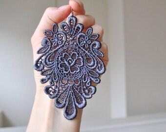London's nights lace earrings/ Long earrings/ Romantic/ Grey earrings/ Gift idea/ rusteam tt team