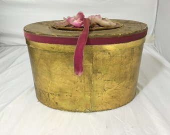 vintage GOLD LEAF Hat Box Victoriana