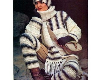 KNITTING PATTERN - Ladies Sweater Hat Scarf and Leg Warmers - Perfect for Winter - Sizes 6 to 16