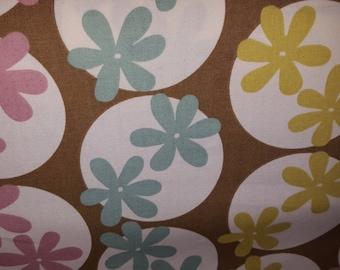 RETRO FLOWER POWER Liliac Citron Aqua Brown Cotton Drapery Upholstery Fabric, 07-29-24-911