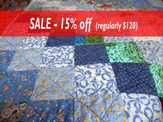 Baby Quilt SALE, Boy, Crib, Blues