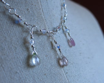 SWEET SURRENDER Watermelon Tourmaline Necklace - Pink Gemstone Necklace - Gemstone Jewelry - Swarovski Crystal - Sterling Silver Chain