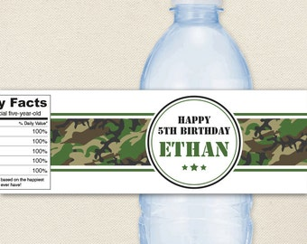 Camo or Army party - 100% waterproof personalized water bottle labels