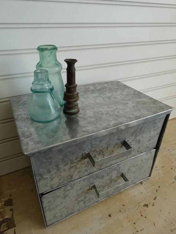 Small Galvanized Metal Storage Cabinet / Two Drawers / Industrial Chic / Vintage Office or Studio