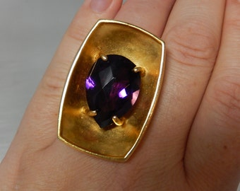 STORE CLOSING SALE Gorgeous Handmade Golden Costume Ring with Purple Glass sz 8 1/2