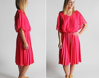Vintage Neon Fuschia Flutter Sleeve Day Dress Skirt - Long Elastic Waist Full A-line Midi Summer Casual 1980's 80's Rayon - Size Large