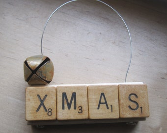 vintage inspired wood christmas ornament jenga block and scrabble letters
