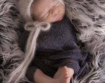 STRETCH WRAP- Dark GREY--Newborn Photo Prop- photography