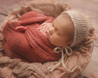 STRETCH WRAP- TERRACOTTA--Newborn Photo Prop- photography