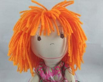 Handmade Rag Doll, Orange Hair Rag Doll, Cloth Doll, Plush Toy, Soft Doll, Fabric Doll, Stuffed Doll