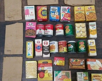 71 Piece Boxed Toy Groceries from the 60's , Doll, Play Food
