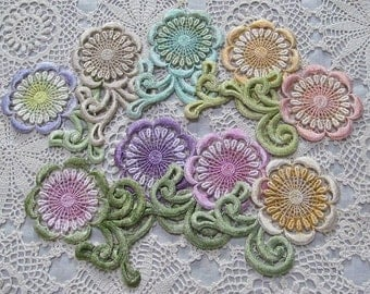 Daisy Flower Lace Hand Dyed Venise Embellishment Trim Applique Crazy Quilt Supply