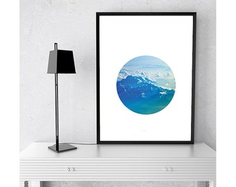 Minimal Modern Circle Geometric Mountain Print Your Own Instant Download Art Print Wall Art Typography Poster Home Decor