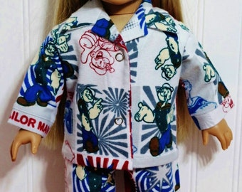 POPEYE the SAILOR MAN fannel Pajamas fit 18inch Dolls - Proudly Made in America by mamastwinsees