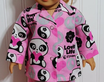 """LOVIN LIFE PANDA Cotton Doll Pajamas Fit 18"""" Dolls -  Proudly Made in America"""