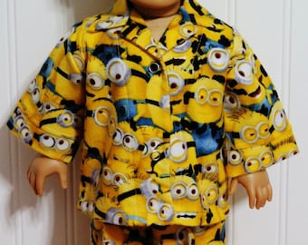 MINIONS Flannel Pajamas fit 18inch Dolls - Proudly Made in America