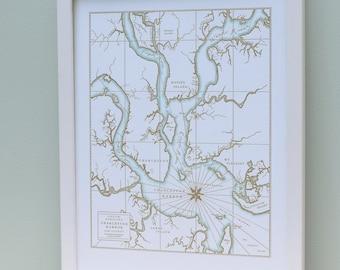 Charleston, South Carolina, Letterpress Printed Map (Cocoa)
