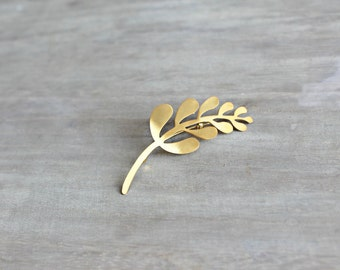 Gold Modern Leaf Branch Brooch Pin, Gold Filled Pin