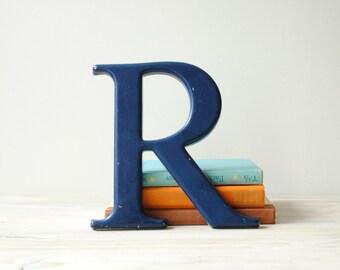 Vintage Letter R, Blue Sign Letter Initial