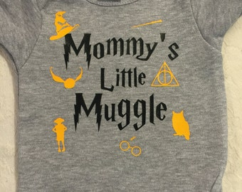"""one piece - snap tee -  bodysuit """" mommys little muggle"""" harry potter snap tee baby clothing choice of size"""