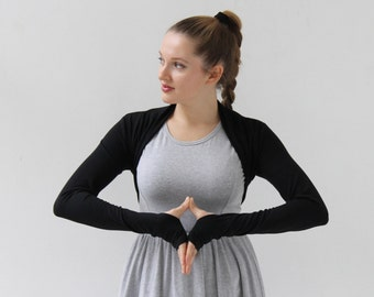 Bolero Shrug/Black Shrug/Yoga clothing/Yoga wear/Long sleeve shrug/Ballet Shrug/Shrug/Yoga wear/Yoga Shrug/Dance wear/Jacket/Active Wear/