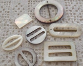 Vintage Mother of Pearl 6 Buckles & 1 Embellishment