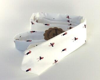 Sailor Girl Skinny Tie - Nautical Men's Necktie - Off White Red & Black Pin Up Girls - Novelty Tie - In Stock mens ties mens neckties
