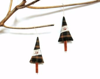 Cinnamon stick tree Christmas ornament, handmade scented tree decoration, teacher gift under 10, green plaid, pine cinnamon