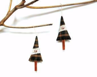 Christmas ornament, Cinnamon stick tree sachet, tree decoration, scented ornament, green plaid, scented sachet, Balsam pine cinnamon chips
