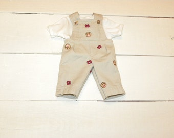 Tan Overalls and White Tshirt - 14 - 15 inch boy doll clothes