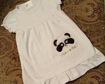 Peek-A-Boo Panda Bear Applique Tee Dress