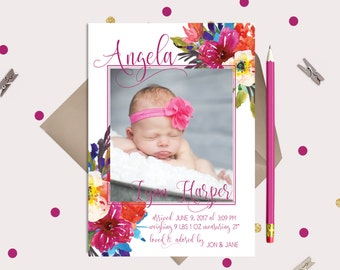 Bright Floral Baby Birth Announcement - Cards or Magnets